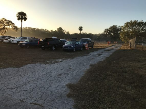 Airport overflow parking at sunrise