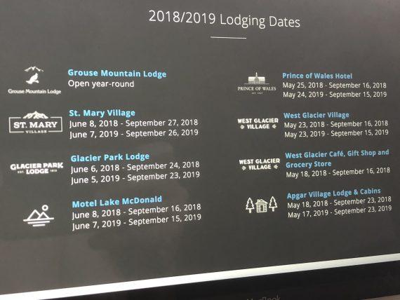 Glacier Park operating hours