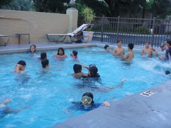 Elementary School class in hotel swimming pool