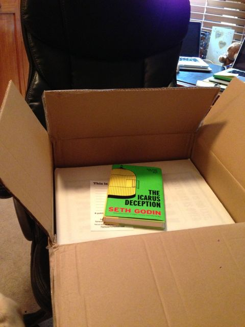 photo of the inside of Seth Godin's shipping box