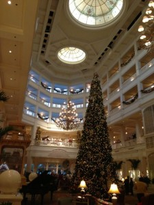 Disney's Grand Floridian Resort and Spa lobby at Christmas time