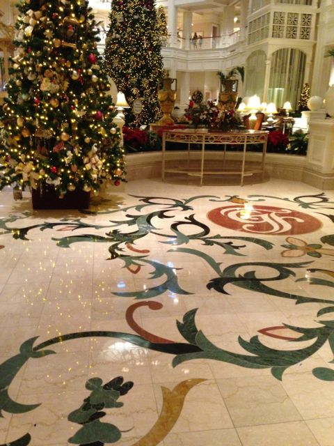 photo of Disney's Grand Floridian Resort and Spa's lobby Christmas decorations