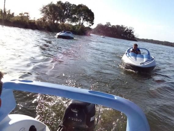 Disney boats on Bay Lake