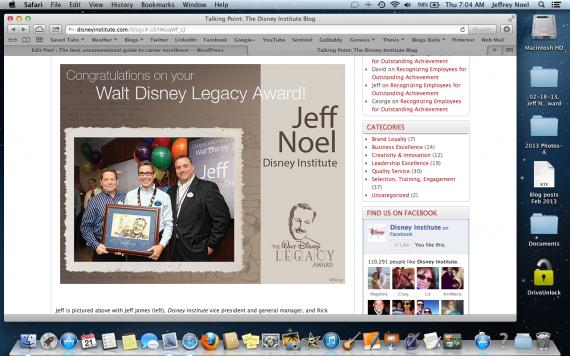 Walt Disney Legacy Award presentation (Feb 19, 2013)