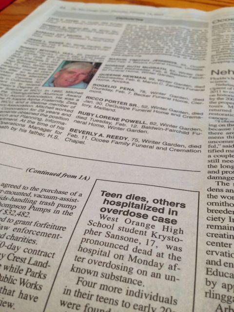 West Orange Times shocking drug overdose death