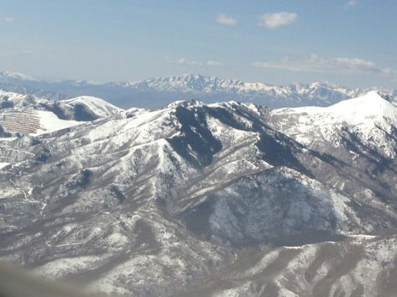 Mountain range near Salt lake City from 20k feet