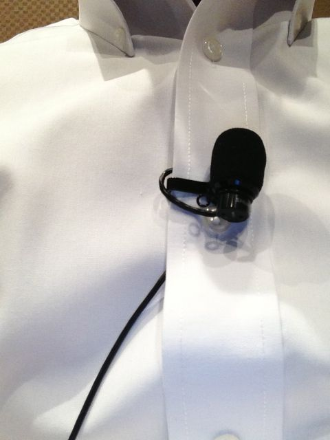 professional speaker wireless lavaliere on shirt