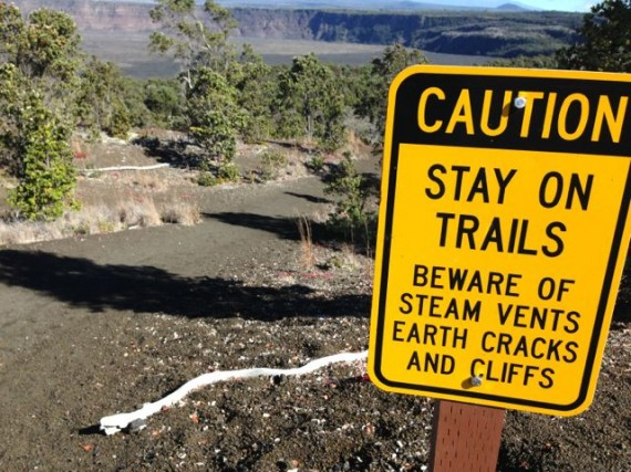 Caution sign at Volcanoes National Park