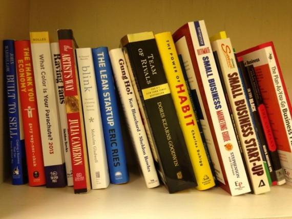 Bookshelf full of business book bestsellers