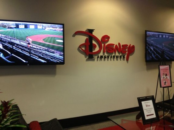Business wall sign in lobby