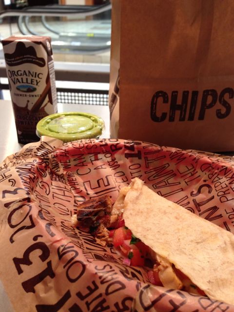 Chipotle counter lunch meal