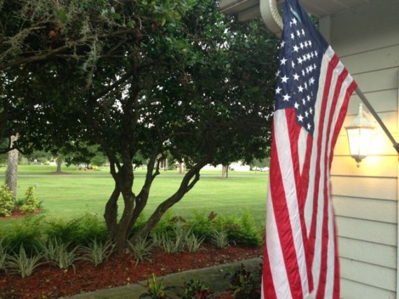 American Flag on homeowner's house