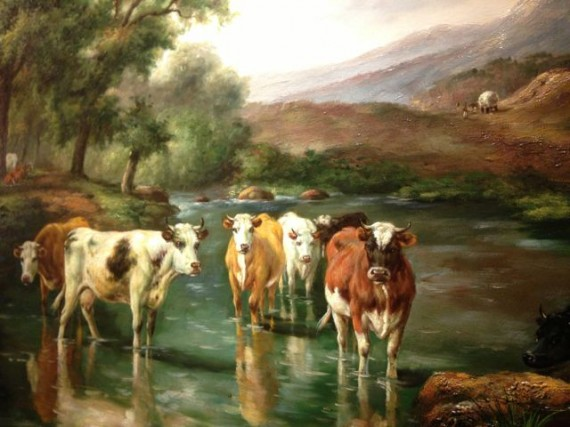 Painting of scene of cows in stream