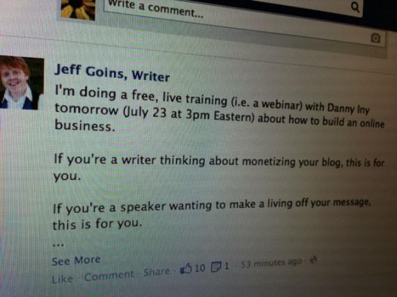 Jeff Goins Facebook update to writers