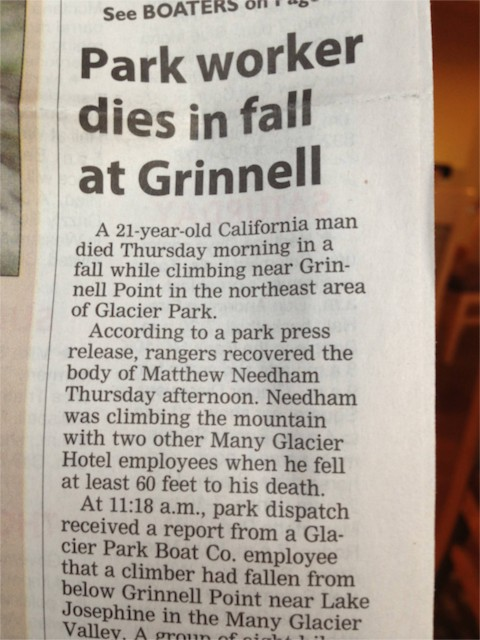 Death at Glacier park in newspaper