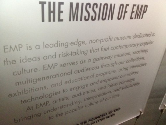 Seattle's EMP mission statement on wall