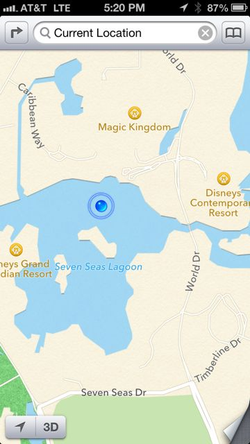 No glitch in the GPS. Was in a boat enjoying the Seven Seas Lagoon