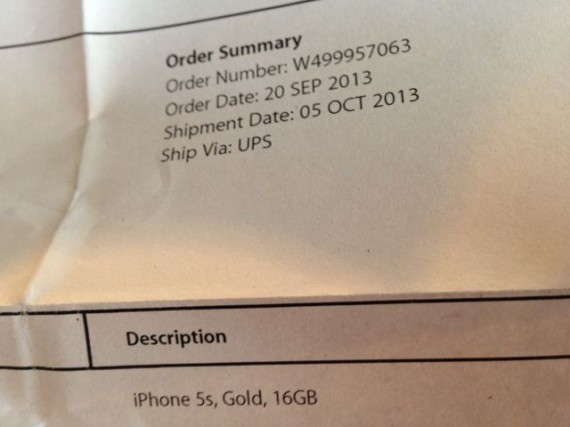 Apple iPhone 5s invoice