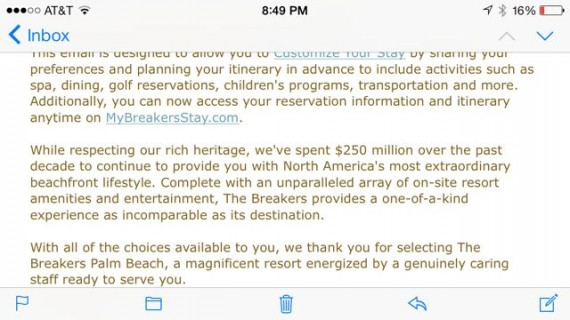 email from The Breakers, Palm Beach, Florida