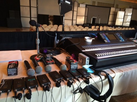 one dozen microphones for big presentation at The Breakers