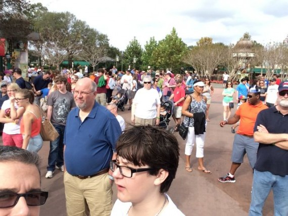 Guests waiting for rope drop at Epcot