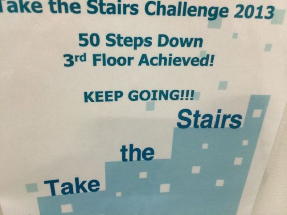 health message in the stairwell
