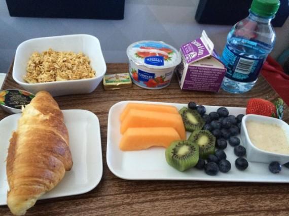 Delta first class cabin breakfast tray
