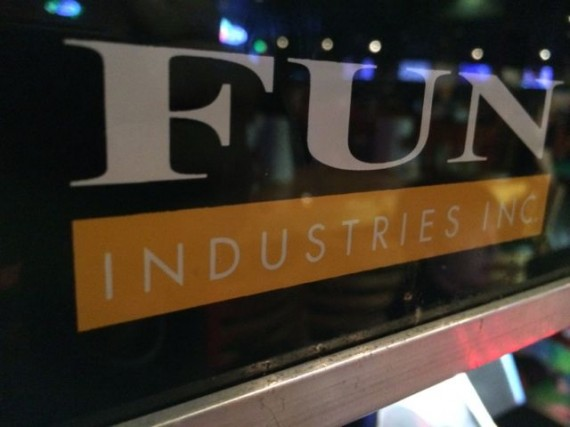 Fun Industries sticker on arcade window display