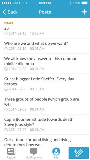 WordPress Mobile app screen shot