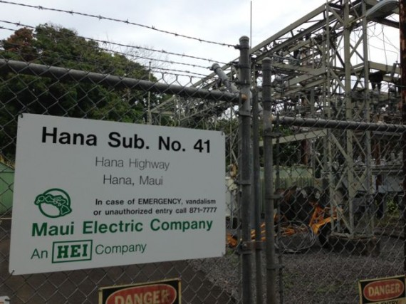 Hawaii Electric substation on Hana Highway