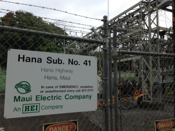 Hawaii Electric substation on Hana Highway