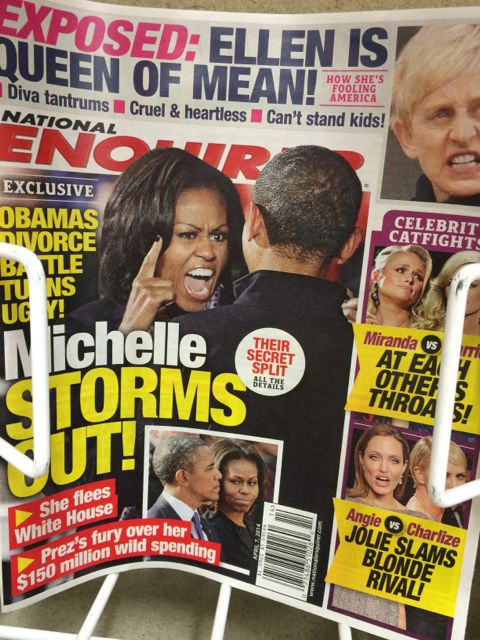 The Enquirer with Michelle Obama raging on the cover