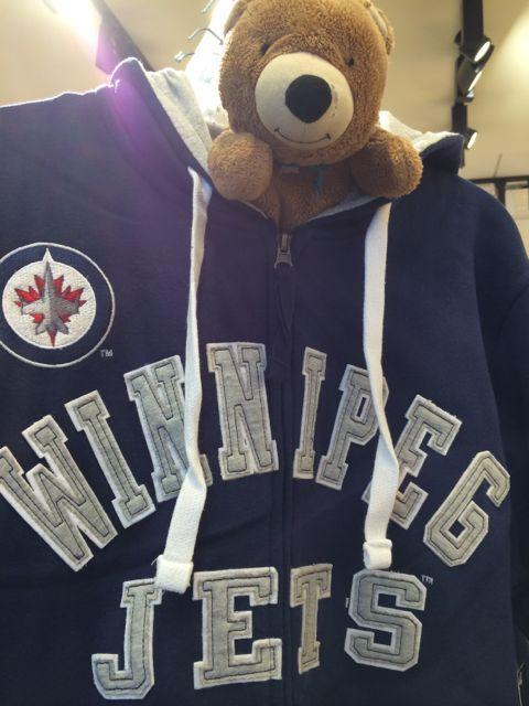 Winnipeg Jets sweatshirt and teddy Bear