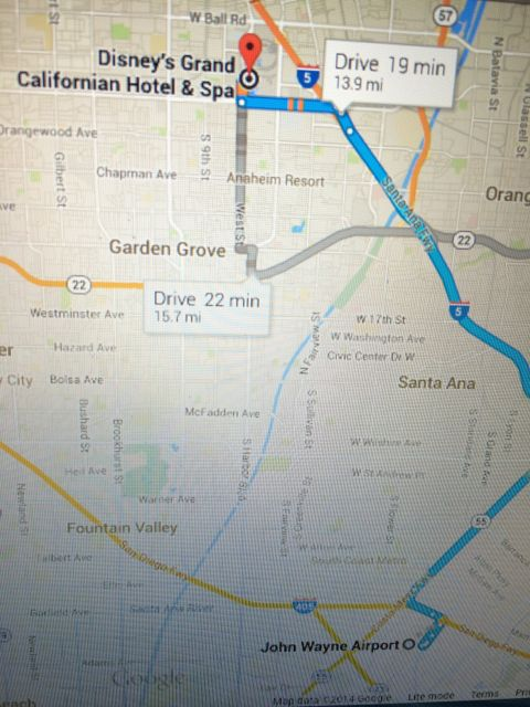 Google maps John Wayne Airport to Disney's Grand Californian Resort and Spa