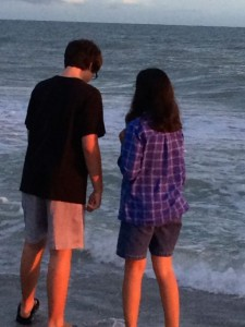 Two teens at Sanibel beach
