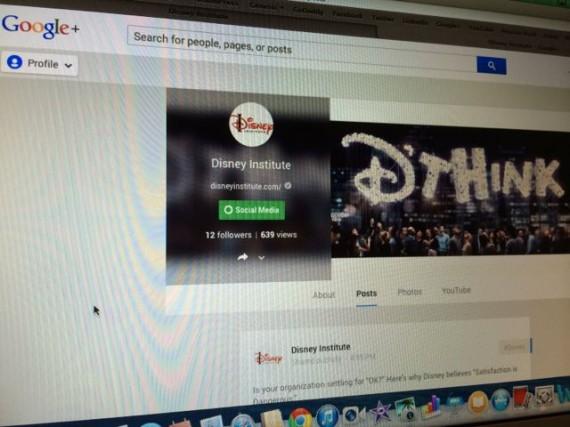 Disney Institute website and Google+ account