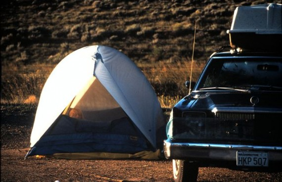 Tent camping along Wyoming Interstate in 1984