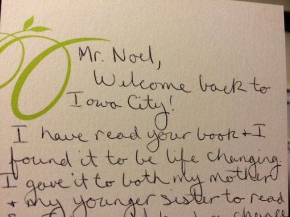 Thank you note to author of Mid Life Celebration