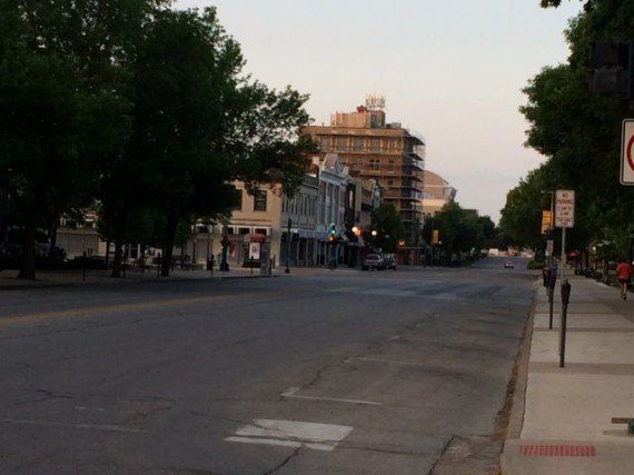 Desserted Iowa City street at 6am