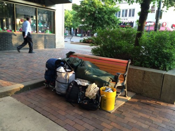 Homeless person in Iowa City
