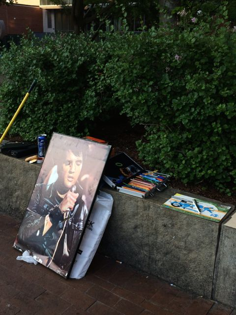 Artist supplies by park bench