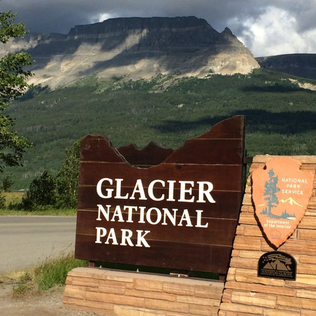 Glacier National Park entrance sign in St Mary
