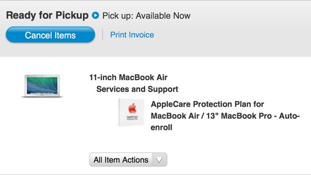 Apple Store items ready for pickup message