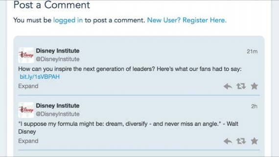 Disney Twitter account leadership Twitter chat comments