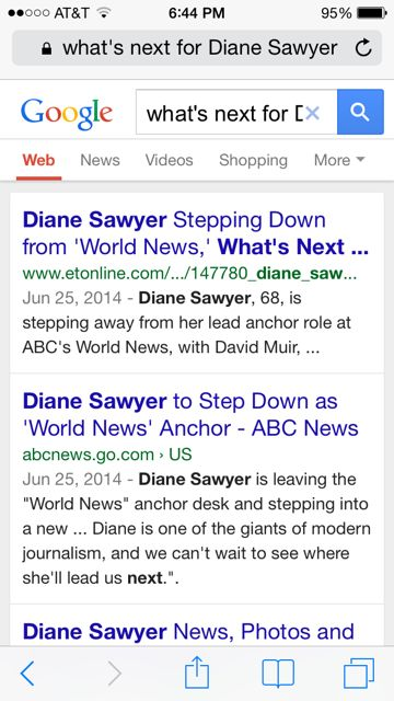Diane Sawyer retirement Google search results