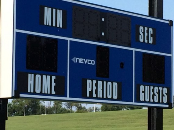 Empty, abandoned Middle School score board