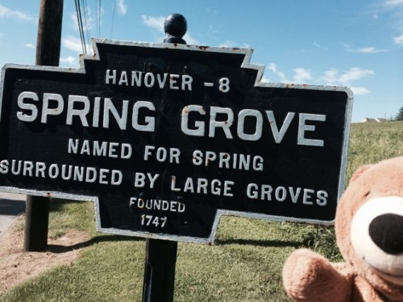 Jack the Bear at Spring Grove town sign