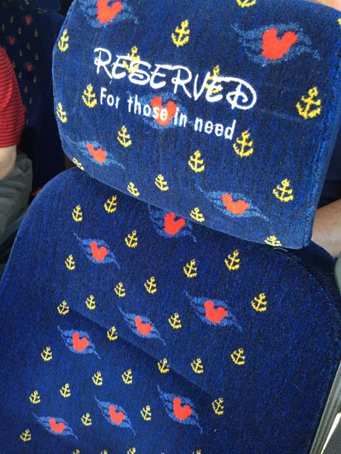 Disney Cruise Line Bus seat  reserved seating