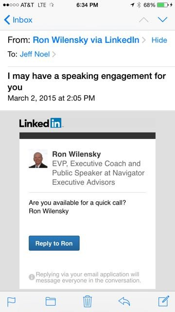 LinkedIn message about speaking