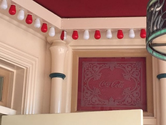 Disneyland's Coke Corner special red and white lightbulb